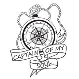 Vintage Compass With Ribbons And Text Captain Of My Soul. Motivation Card. Royalty Free Stock Photo