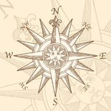 Vintage Compass Rose Engraving Stock Photos