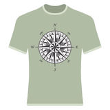 Vintage compass rose t-shirt. Stock Photo