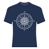 Vintage compass rose t-shirt. Royalty Free Stock Photos