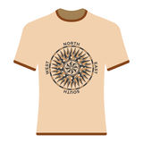 Vintage compass rose t-shirt. Royalty Free Stock Photo