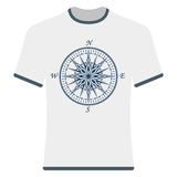 Vintage compass rose t-shirt. Royalty Free Stock Image