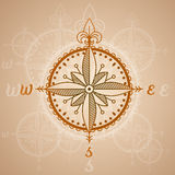 Vintage compass roses, icon and design element. vector nautical label. Royalty Free Stock Images