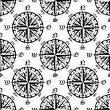 Vintage compass roses seamless pattern Stock Photo