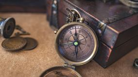Vintage Compass With Treasure Box stock photos