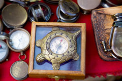Vintage compasses at the Indian market Stock Photo