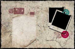 Vintage composition. Vintage background with polaroid frames stamps and paper letter Royalty Free Stock Image