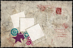 Vintage composition. Vintage background with polaroid frames stamps and paper letter Royalty Free Stock Photography