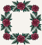 Vintage Composition For Border With Roses Royalty Free Stock Images