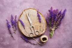 Vintage composition, bouquet of wild flowers of sage, plank stump, old scissors and a ball of thread on a purple rustic background