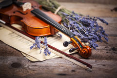 Vintage composition with violin and lavender Royalty Free Stock Photography