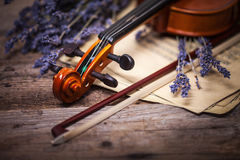 Vintage composition with violin and lavender Royalty Free Stock Photos