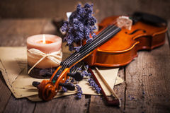 Vintage composition with violin and lavender Stock Photo