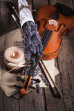 Vintage composition with violin and lavender Stock Images