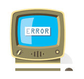 Vintage computer monitor with Error message on scr Stock Photos