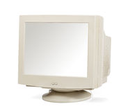 Vintage computer monitor isolated on white stock photo