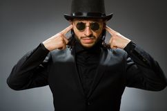 The vintage concept with man wearing black top hat stock images