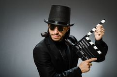 The vintage concept with man wearing black top hat stock photos
