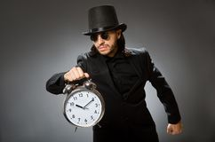 The vintage concept with man wearing black top hat. Vintage concept with man wearing black top hat royalty free stock images