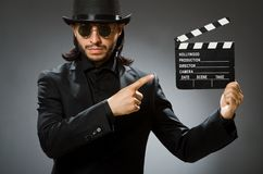 The vintage concept with man wearing black top hat. Vintage concept with man wearing black top hat stock photography