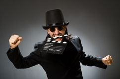 The vintage concept with man wearing black top hat. Vintage concept with man wearing black top hat stock photos