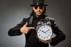 The vintage concept with man wearing black top hat. Vintage concept with man wearing black top hat royalty free stock image