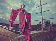 Vintage concept of princess on lost boat Stock Images