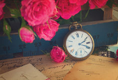 Vintage concept with roses Royalty Free Stock Photo