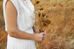 Vintage concept with a young woman holding a bouquet of dry flow Stock Photography