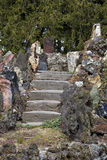 Vintage Concrete Stairs In Old Rock Garden Stock Photography