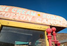Vintage confectioners wagon. Vintage sweets wagon, ice cream sodas and cotton candy Stock Photography