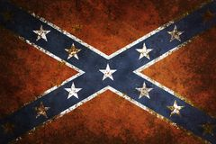 Vintage Confederate Flag. Vintage close-up of Confederate Flag. Grunge Background Vector Illustration