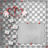 Vintage congratulation to holiday with hearts Stock Image