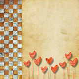 Vintage congratulation to holiday or wedding. With hearts Royalty Free Stock Images