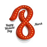 Vintage Congratulations on 8 March. World Women's Day Vector Illustration