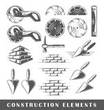 Vintage construction elements. Set of silhouettes of a construction elements, isolated on a white background. Vector illustration Royalty Free Stock Photos