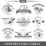 Vintage construction labels. Set of vintage construction labels. Vol.2.  Posters, stamps, banners and design elements. Vector illustration Stock Image
