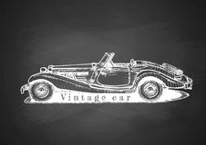 Vintage convertible on blackboard. Vector drawing of retro convertible on blackboard stock illustration