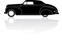 Vintage convertible coupe silhouette vector icon Stock Photo
