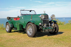 Vintage convertible mg car. Photo of a vintage open top mg with british racing green colour showing at tankerton slopes whitstable on 2nd august 2015 ideal for Royalty Free Stock Photography