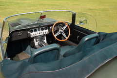 Vintage Convertible Sports Car Interior Closeup. Closeup of a vintage convertible sports car interior parked in a lawn area at daylight Royalty Free Stock Photos