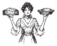 Vintage cook or waitress with baked pies. Vintage Cook Bakes Pies, a black and white illustration stock illustration