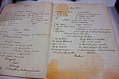 Vintage cookbook. An antique cookbook with handwritten recipes, in the Wendish Museum in Serbin, Texas Stock Image