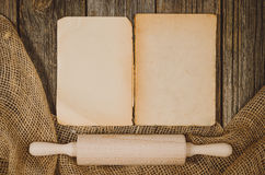 Vintage cookbook top view on old wooden food background Stock Photo
