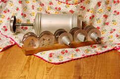 Vintage cookie press on wooden table Stock Image