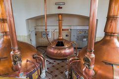Vintage copper kettle - brewery in Belgium Stock Photography