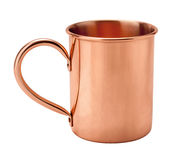Vintage Copper Mug. Showing the handle. The image is a cut out, isolated on a white background, and includes a clipping path Stock Photography