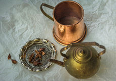 Vintage copper teapot. And silver plate withe a spices Stock Photos