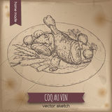 Vintage coq au vin aka chicken in wine vector sketch. Royalty Free Stock Image