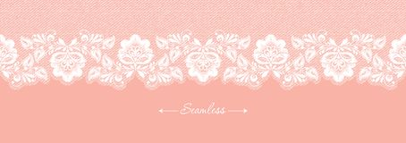 Vintage coral floral seamless lace trim banner, great design for any purposes. Decorative ornate header with flower. Modern fashion pattern. Vector abstract vector illustration